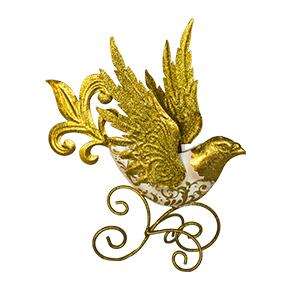 Ave de metal dorada de 20x13x33cm