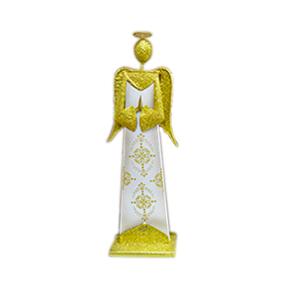 Angel parado de madera con metal dorado de 16x8x52cm