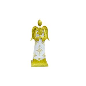 Angel parado de madera con metal dorado de 16x8x43cm