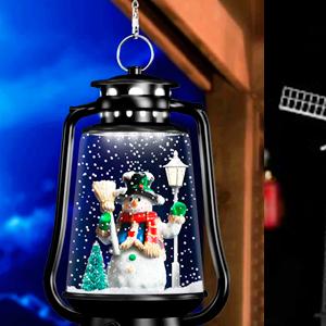 Linterna c/muñeco de nieve y luz de 23x16x41cm