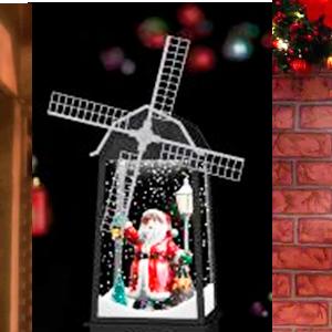Linterna diseño molino con nieve y santa claus con luz de 16x16x32cm