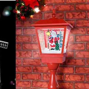 Farol de mesa c/santa color rojo con luz y musica de 27x27x64cm