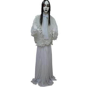 Fantasma de novia con vestido blanco y ojos con luz led de 145cm