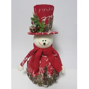 Muñeco de nieve forrado de tela roja y corteza de madera de 30x30x60cm