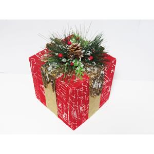 Caja de regalo rojo con moño de moras y follaje verde 18x18x21cm
