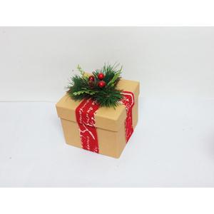Caja de regalo beige y corsaje de 12x12x14cm