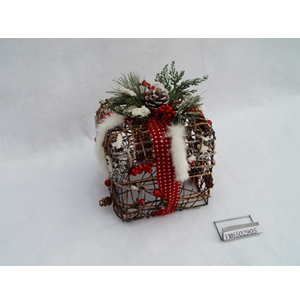 Caja de regalo de varas y follaje nevado de 19x19x20cm