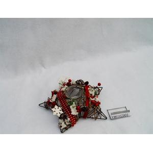 Candelabro diseño estrella de varas con follaje nevado de 25x25x7cm