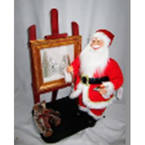 Santa con luz led, musical con movimiento pintando cuadro de 70cm