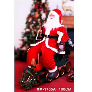 Santa sentado en tren con luz led, musical y movimiento  de 100cm