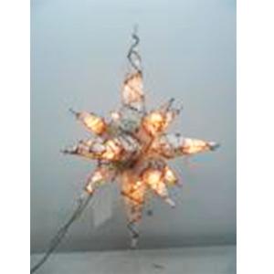 Estrella colgante blanca tejida de varas con luz de 55cm