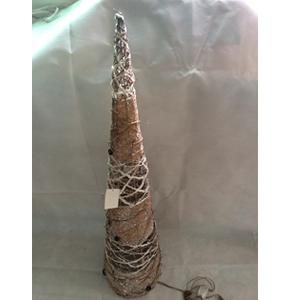 Cono de madera y varas  tejidas con luz de 100cm