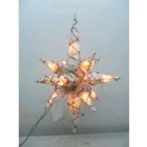 Estrella colgante blanca tejida de varas con luz de 90cm