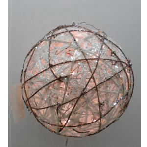 Esfera blanca tejida de varas con luz de 80 diametro