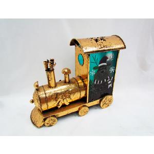 Locomotora de lámina dorado navideño de 50x18x40cm