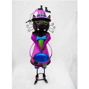 Gato negro con traje morado de lámina de 28x34x104cm