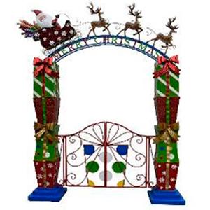 Portal Navideño de regalos con santa y trineo (usa 15 baterias AA) de 238x43x293cm