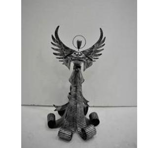 Angel de latón plata con porta vela de 36x35x66cm