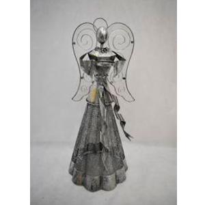 Angel de latón plata con porta vela de 29x27x64cm