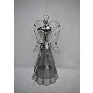 Angel de latón plata con porta vela  de 25x23x52cm