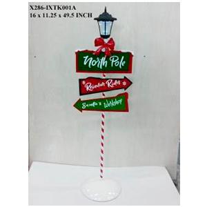 Farol con letreros navideños de 39x28x126cm