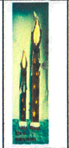 Vela de madera nevada de 55x12cm (Usa 2 baterias doble A)
