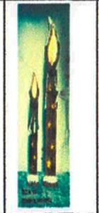 Vela de madera nevada de 78x14cm (Usa 2 baterias doble A)