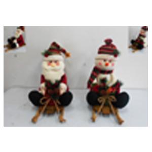 Muñeco de nieve de tela sentado en trineo de 50cm