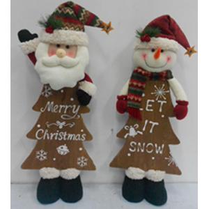 Muñeco de nieve de tela con cuerpo de Árbol de navidad de madera de 71cm