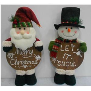 Muñeco de nieve de tela con cuerpo de Esfera de navidad de madera de 63cm