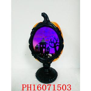 Calabaza para Halloween con castillo de luz de 18x18x37cm (usa 3 baterias AAA)