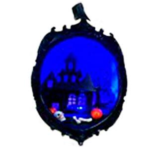 Calabaza para Halloween con castillo de luz de 17.5x17.5x24cm (usa 3 baterias AAA)