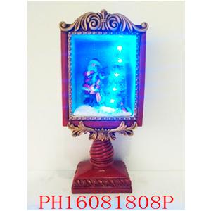 Farol navideño con Santa y Árbol con luz de 16x8.5x34cm (usa 3 baterias AAA)