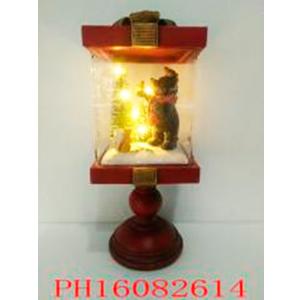 Farol navideño con Oso y Árbol con luz de 12x12x28cm (usa 3 baterias AAA)
