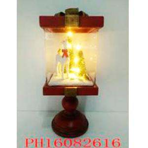 Farol navideño con Reno blanco y Árbol con luz de 12x12x28cm (usa 3 baterias AAA)
