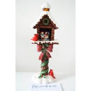 Casita navideña en poste nevado y muñeco de nieve de 20x17x58cm (usa 3 baterias AAA)