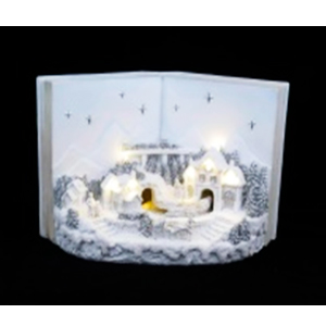 Villa navideña con luz en forma de libro (usa 3 baterias doble A) de 32x19x23cm