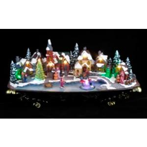 Villa navideña con pista de hielo y luz (usa 3 baterias doble A) de 51x23x27cm