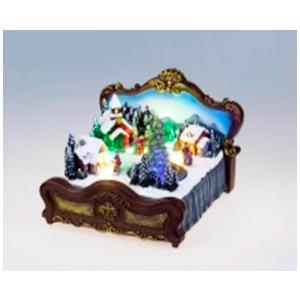 Villa navideña iluminada sobre cama (usa 3 baterias doble A) de 21x21x17cm