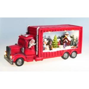Villa navideña iluminada sobre camión de (usa 3 baterias doble A) 33x11x16cm