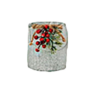 Candelabro de cristal escarchado con moras de 11x10cm