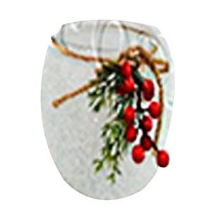 Candelabro de cristal escarchado con moras de 18x15cm