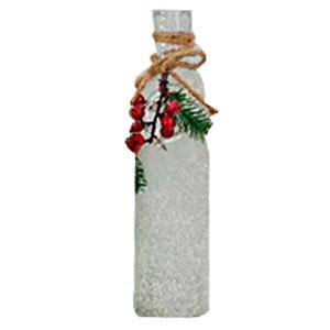 Botella de cristal escarchada con moras de 7x21cm