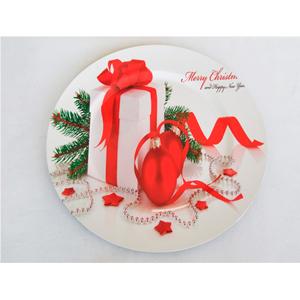 Plato de presentación con estampado de caja de regalo blanco con rojo de 33x33cm