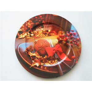 Plato de presentación con estampado esferas de 33x33cm