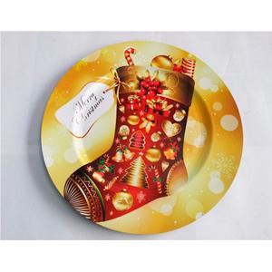Plato de presentación dorado con bota navideña roja de 33x33cm