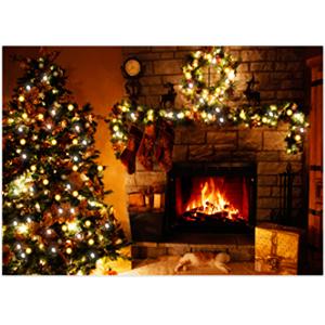 Cuadro de Chimenea y Árbol de Navidad con luz de fibra óptica usa 4 baterias doble A de 40x60x2.5cm