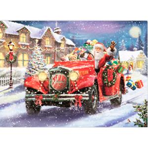 Cuadro de Santa en carro con luz de fibra óptica (usa 4 baterias doble A) de 40x60x2.5cm