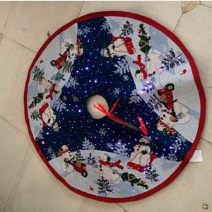 Pie de árbol con fibra óptica estampados muñecos navideños (usa baterias AA) de 122cm