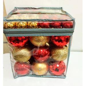 Estuche con 63 esferas rojas y doradas en diferentes tamaños de 4 y 8cm